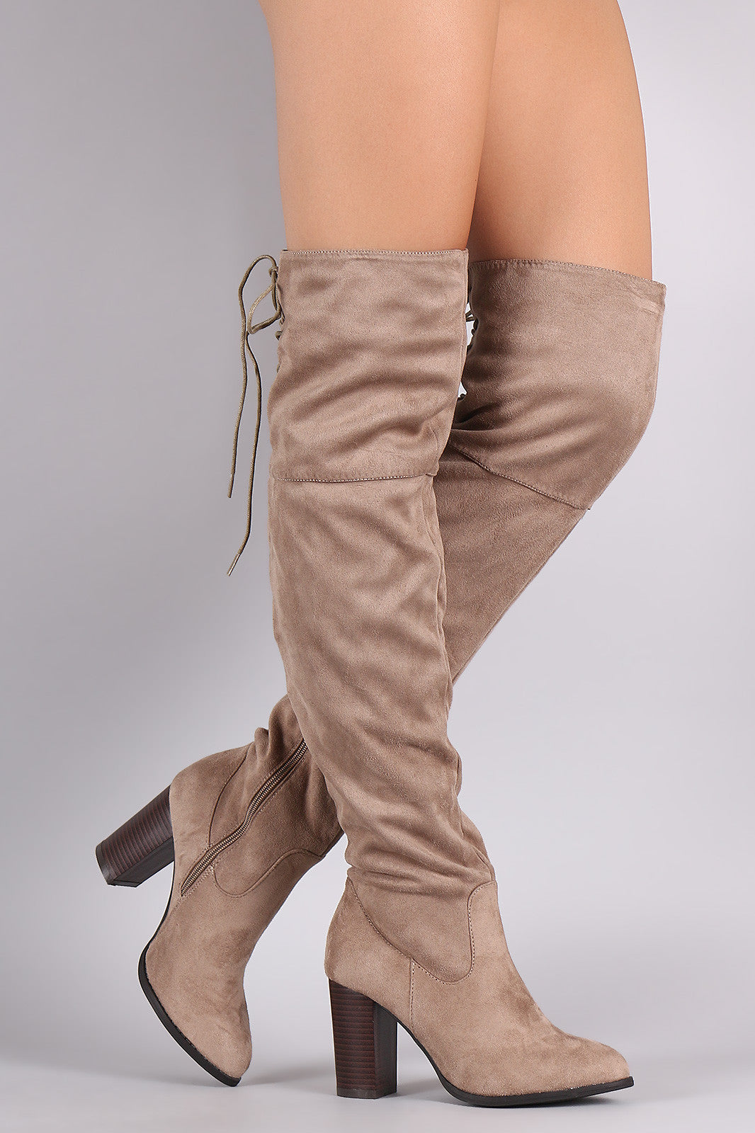 Back lace up boots - Qupid Suede Back Lace Up Chunky Heeled Over The Knee Boots