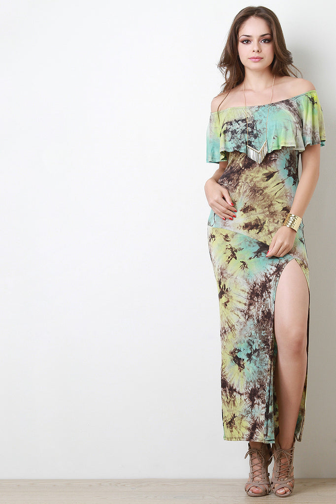 Multi Color Tie Dye Flutter Bardot Maxi Dress