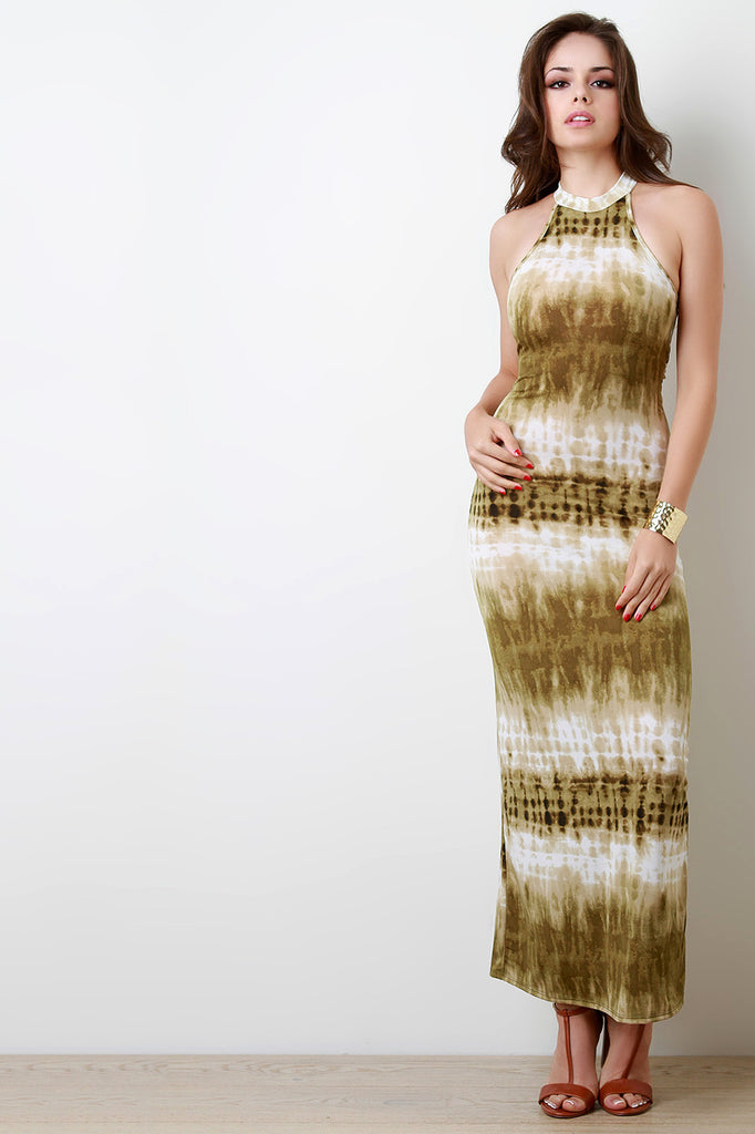 Tie Dye Print Sleeveless Maxi Dress