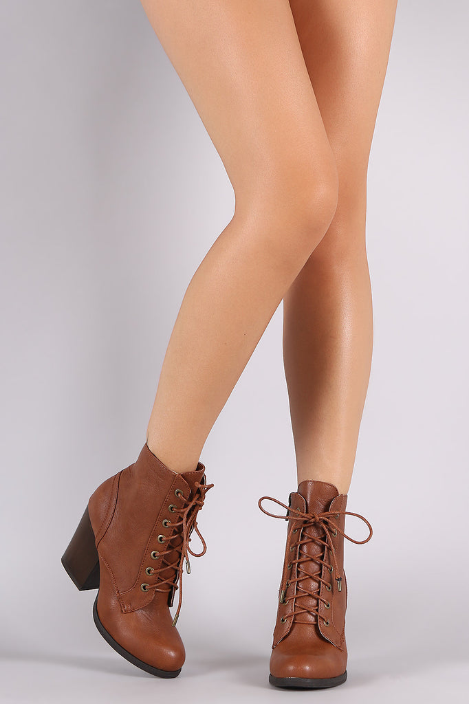 Bamboo Chunky Heeled Combat Lace Up Ankle Boots