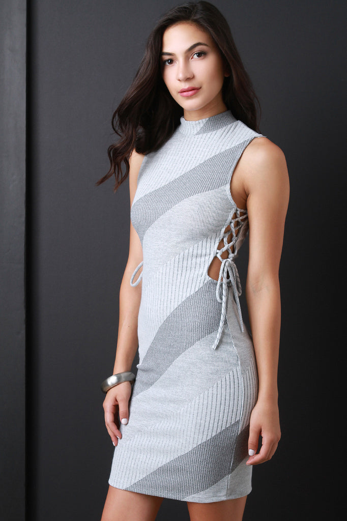 Diagonal Ribbed Knit Stripe Mock Neck Dress