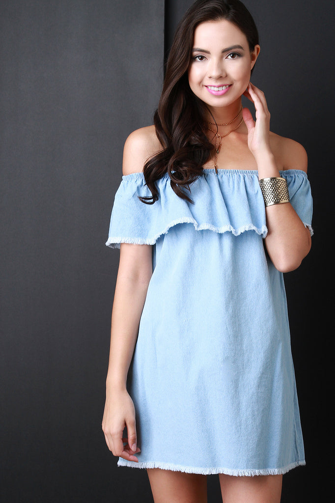 Frayed Ruffle Off the Shoulder Denim Dress