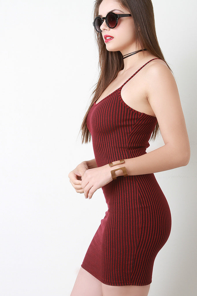 Spaghetti Strap Rib Knit Mini Dress