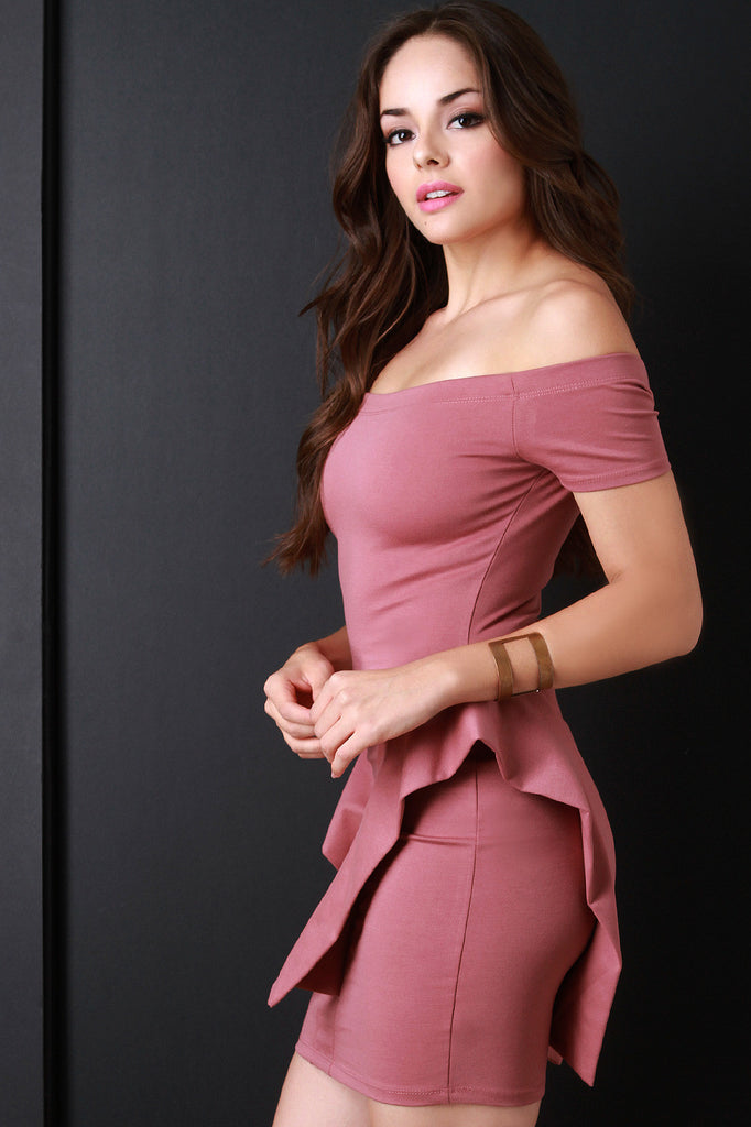Knit Off The Shoulder Bodycon Ruffle Hip Dress