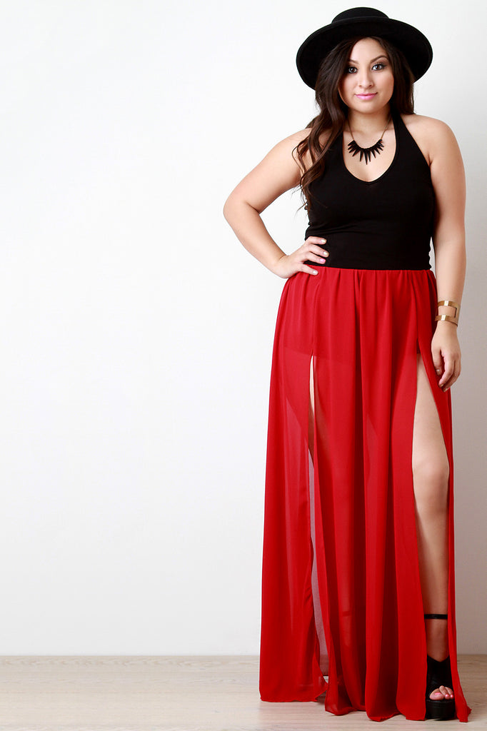 42ee109cc81 Double Slit High Waisted Chiffon Maxi Skirt – Kurve Boutique