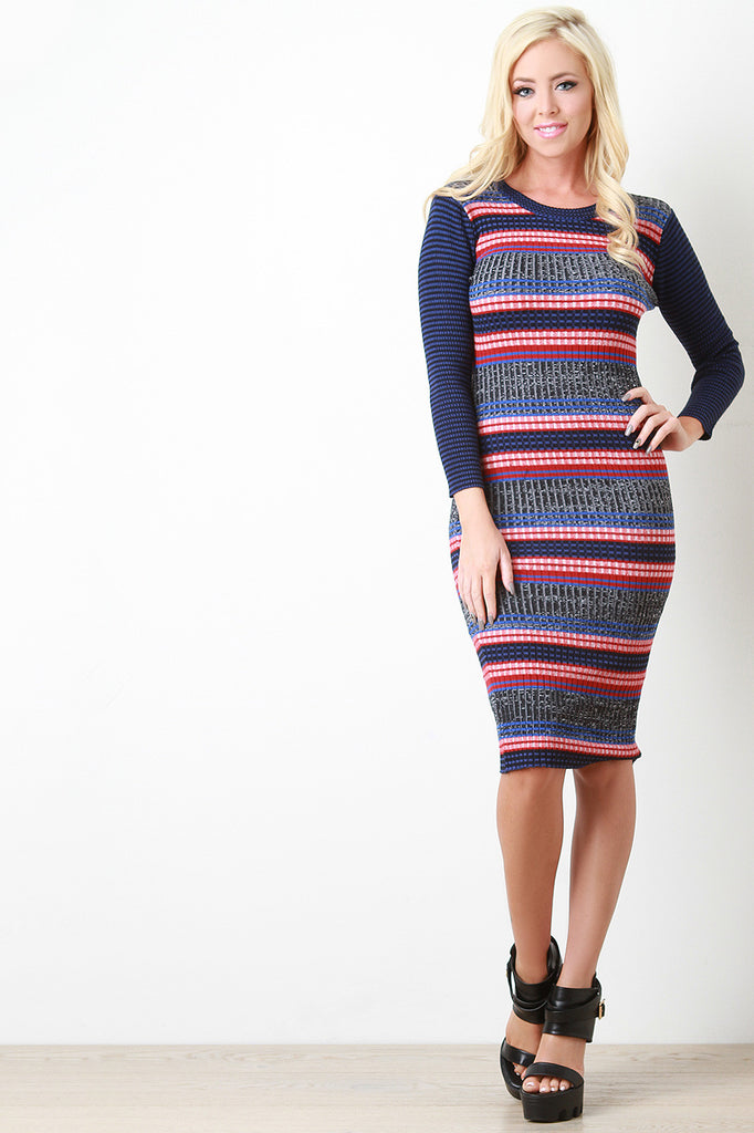 861c33ef46be Ribbed Knit Striped Sweater Dress – Kurve Boutique