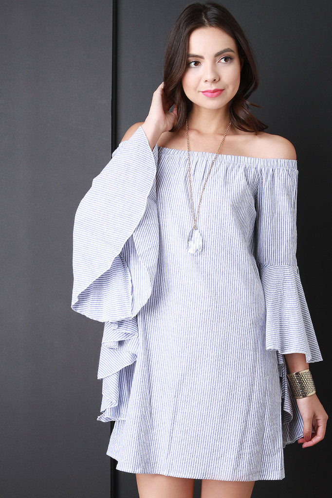 Striped Ruffle Sleeve Bardot Dress