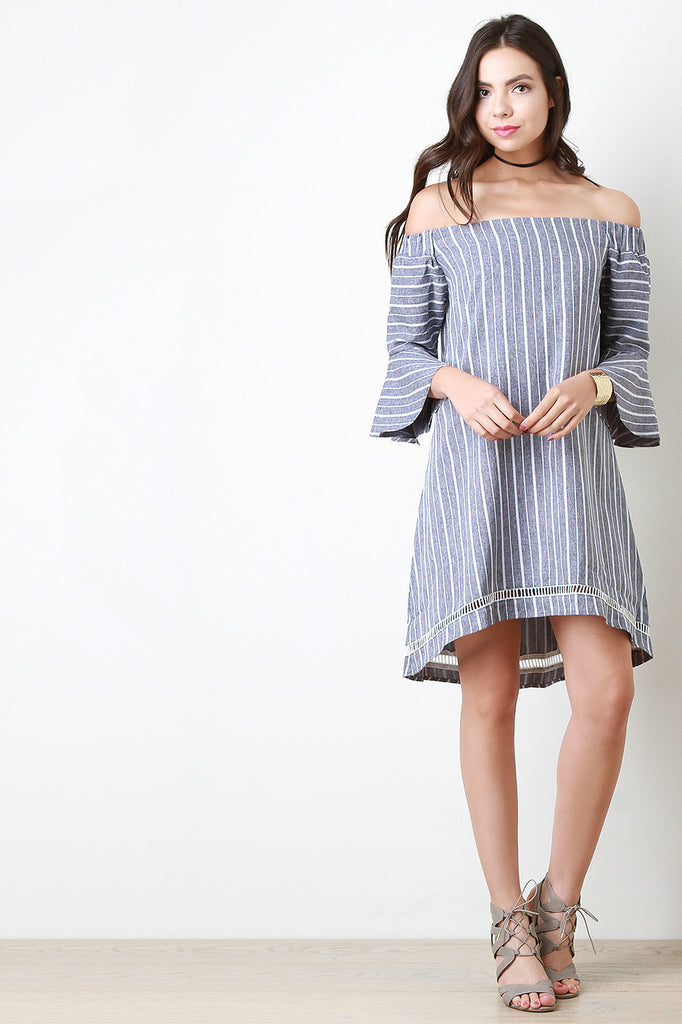 Striped Bell Sleeve Bardot Dress
