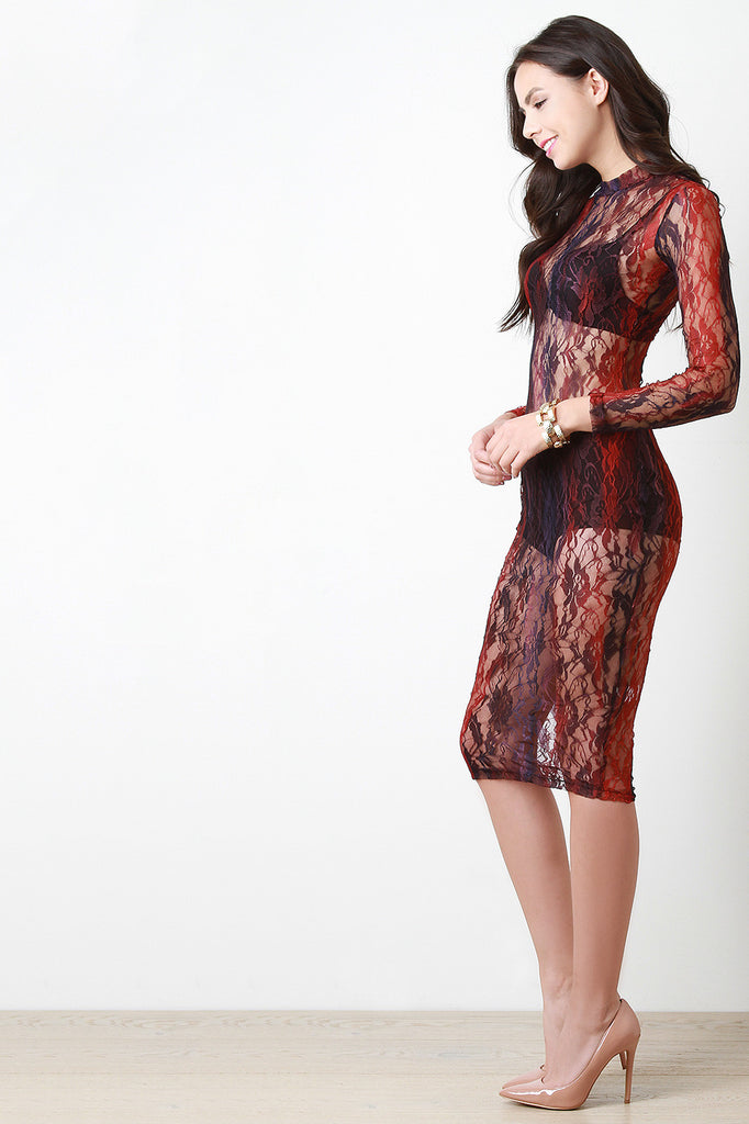 Lace Patterned Mock Neck Longsleeve Bodycon Dress
