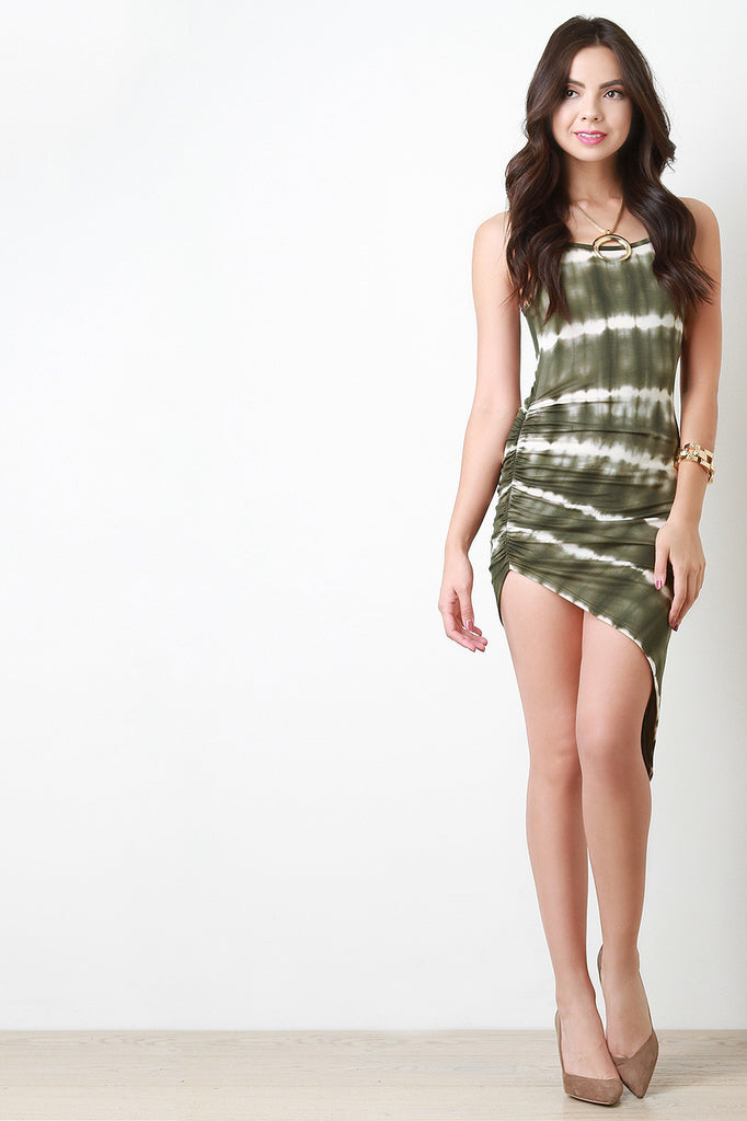 Stripe Tie Dye Asymmetrical Bodycon Dress