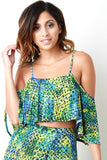 Abstract Circle Cold Shoulder Ruffle Crop Top, Clothes, Tops, Kurve Boutique - Kurve Boutique