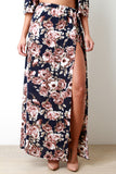Textured Floral Print High Slit Maxi Skirt