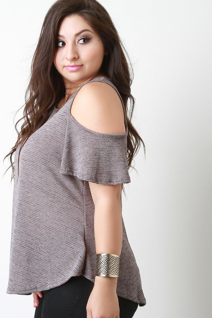 Cold Shoulder Marled Knit Top