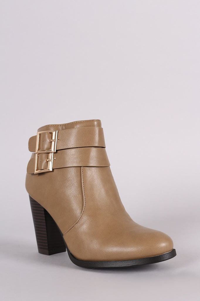 Bamboo Double Buckle Strap Chunky Heeled Ankle Boots, Shoes, Booties, Kurve Boutique - Kurve Boutique