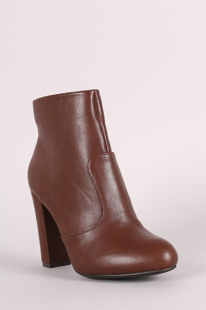 Bamboo Plain Chunky Heeled Ankle Boots, Shoes, Booties, Kurve Boutique - Kurve Boutique