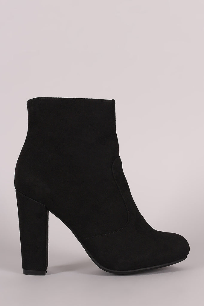 Bamboo Plain Suede Chunky Heeled Ankle Boots, Shoes, Booties, Kurve Boutique - Kurve Boutique