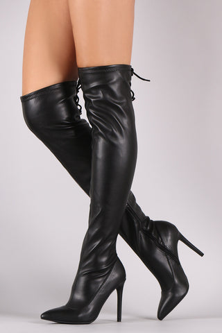 Anne Michelle Back Lace Up Pointy Toe Stiletto Boots, Shoes, Knee High Boots, Kurve Boutique - Kurve Boutique