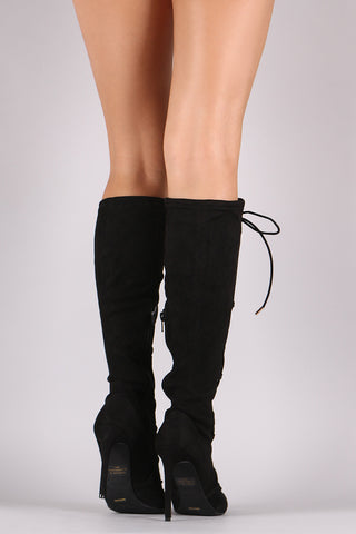 Anne Michelle Stretchy Suede Corset Lace Up Boots, Shoes, Knee High Boots, Kurve Boutique - Kurve Boutique