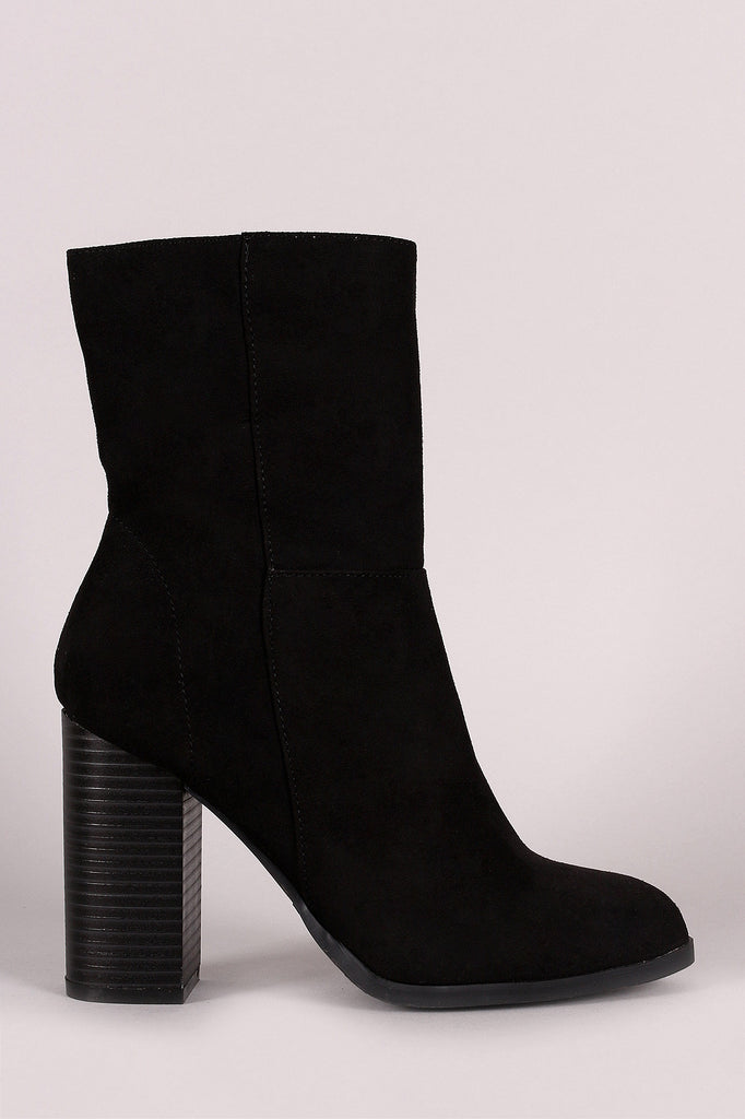 Bamboo Suede Zip-Up Chunky Heel Boots, Shoes, Booties, Kurve Boutique - Kurve Boutique
