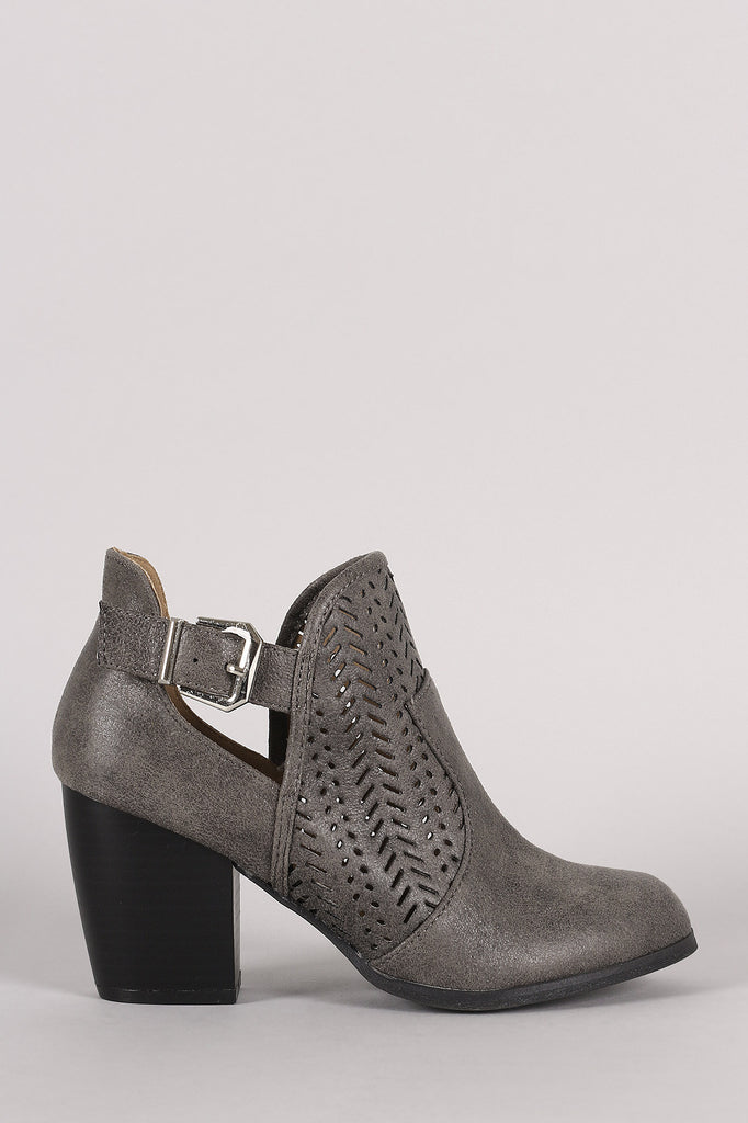 Qupid Perforated Buckle Distressed Chunky Heeled Booties