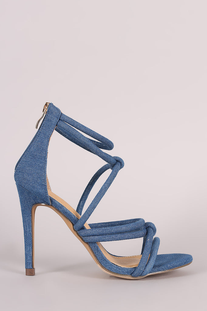 Liliana Denim Strappy Knotted Single Sole Heel