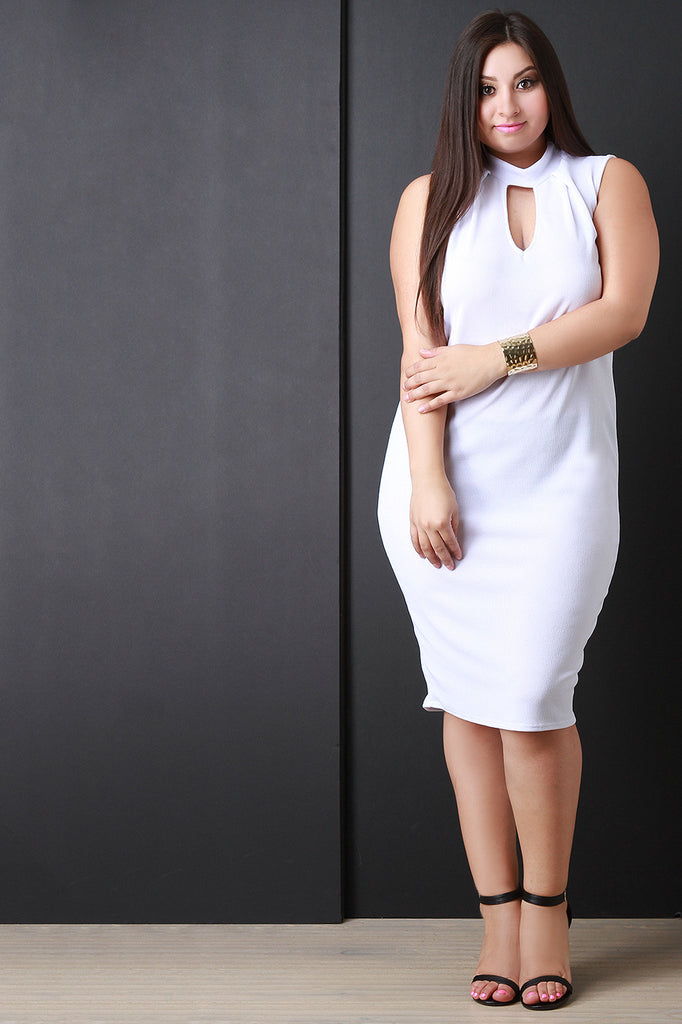 Rib Knit Sleeveless Mock Neck Fitted Dress