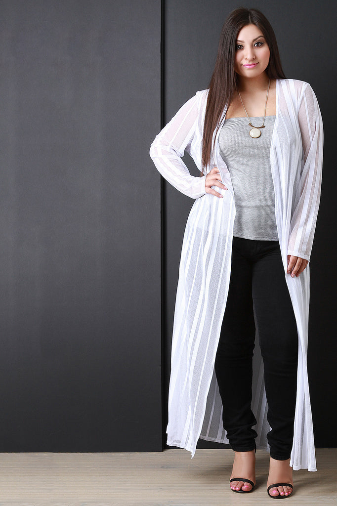 Striped Mesh Maxi Cardigan