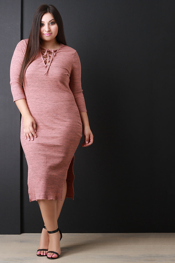 Marled Rib Knit Lace Up Neckline Midi Dress