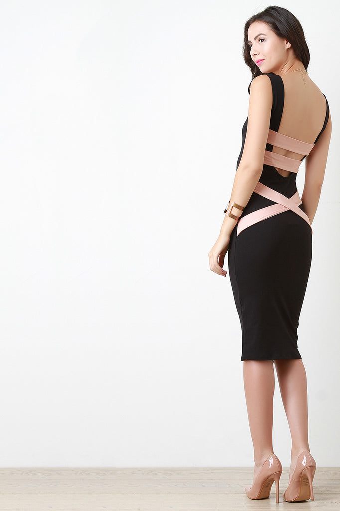 Contrast Caged Back Midi Dress