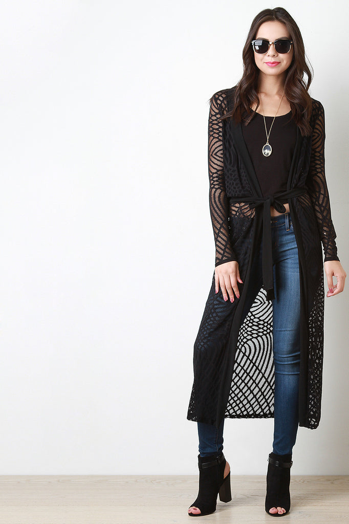 Semi-Sheer Mesh Webbed Cardigan