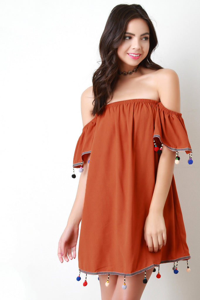Pom Pom Trim Off The Shoulder Shift Dress