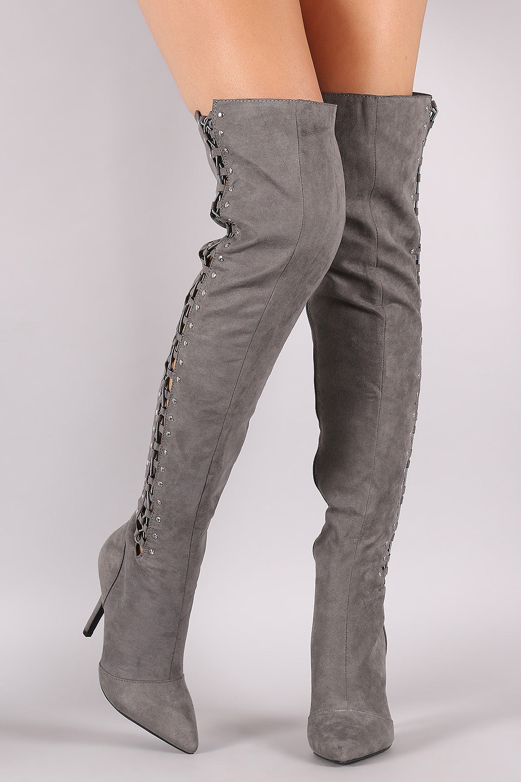 961f5198ea5 Qupid Suede Studded Lace Up Over-The-Knee Stiletto Boots – Kurve ...