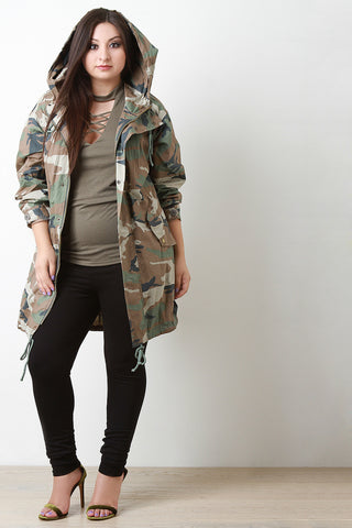 Draw String Hem Long Camouflage Jacket