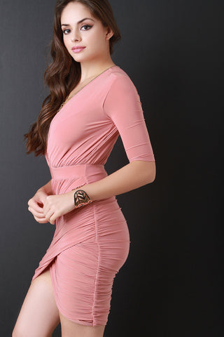 Surplice Elbow Sleeve Ruched Wrapped Tulip Dress