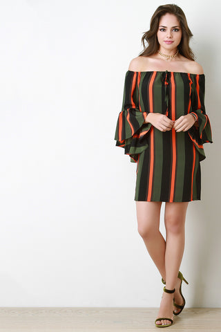 Statement Bell Sleeve Striped Mini Dress