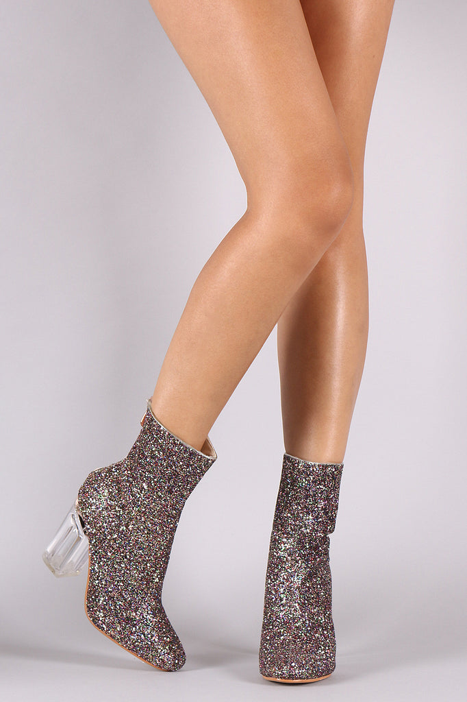 Glitter Chunky Lucite Heeled Ankle Boots – Kurve Boutique