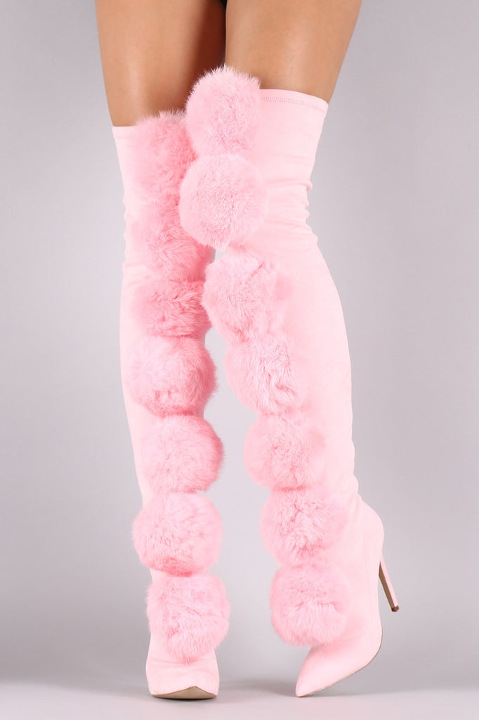 79433a0c50a ... Privileged Suede Oversized Pom Pom Fitted Stiletto Over-The-Knee Boots  ...