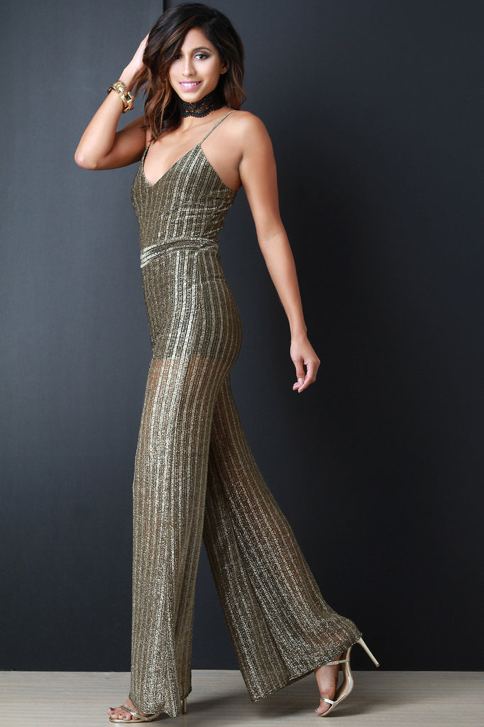 32111ad5df Metallic Semi-Sheer Ribbed Knit Jumpsuit – Kurve Boutique