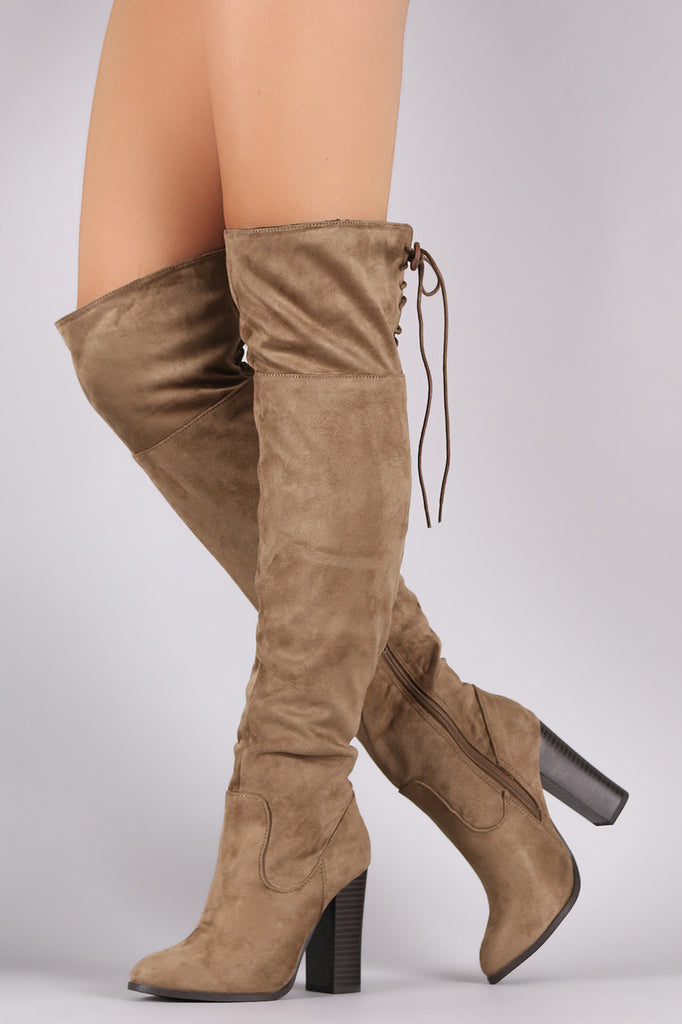 6404648d600 Corset Lace-Up Chunky Heeled Suede Over-The-Knee Boots – Kurve Boutique