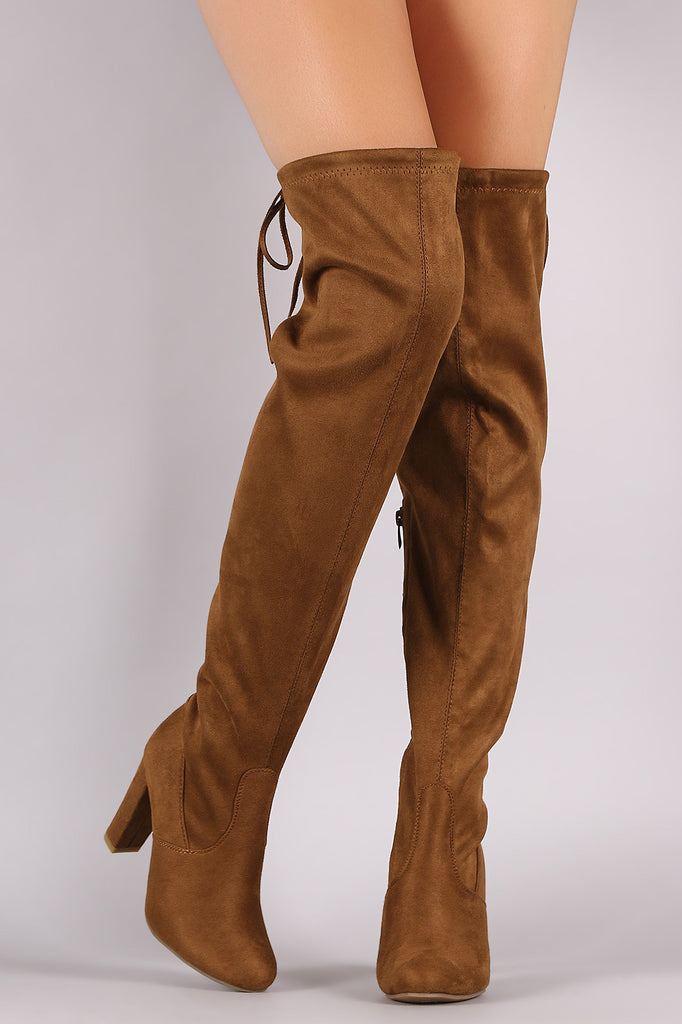 7d552899b72 Suede Drawstring-Tie Thick Heeled Over-The-Knee Boots – Kurve Boutique