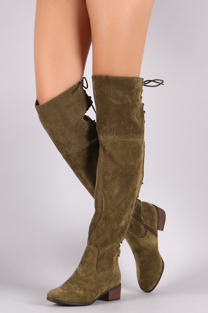 8038425a58b Breckelle Vegan Suede Lace Up Back Over The Knee Boots – Kurve Boutique