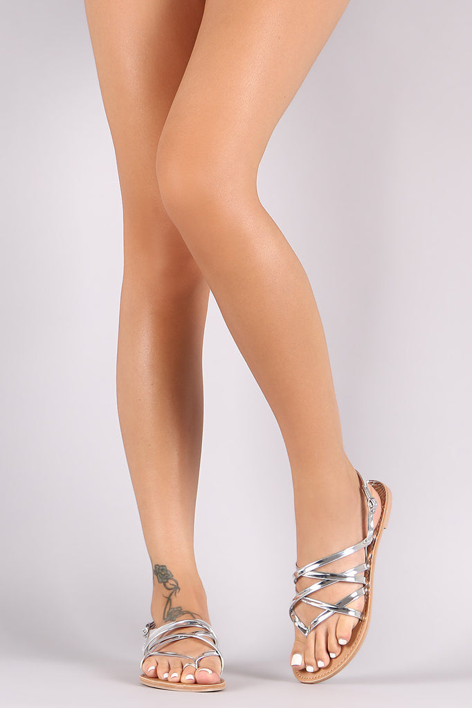 7b3252326c78 Qupid Strappy Patent Thong Gladiator Flat Sandal – Kurve Boutique