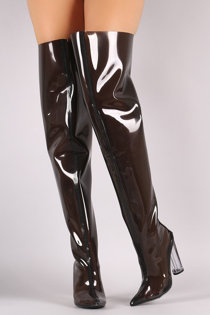 90e567a2cb3 Pointy Toe Transparent Lucite Heeled Over-The-Knee Boots – Kurve ...