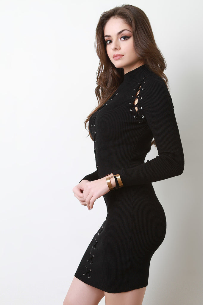 Grommets Lace Up Long Sleeves Bodycon Sweater Dress – Kurve Boutique 16e31a2b5