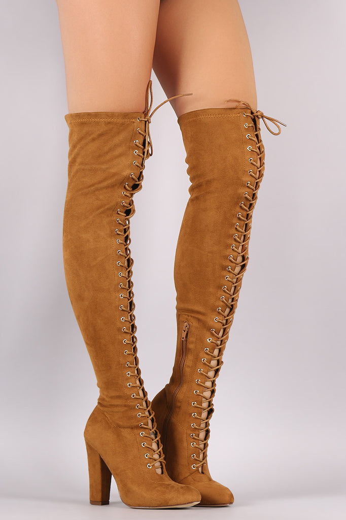 0925daf4cd6 Suede Lace Up Almond Toe Chunky Heeled Over-The-Knee Boots – Kurve ...