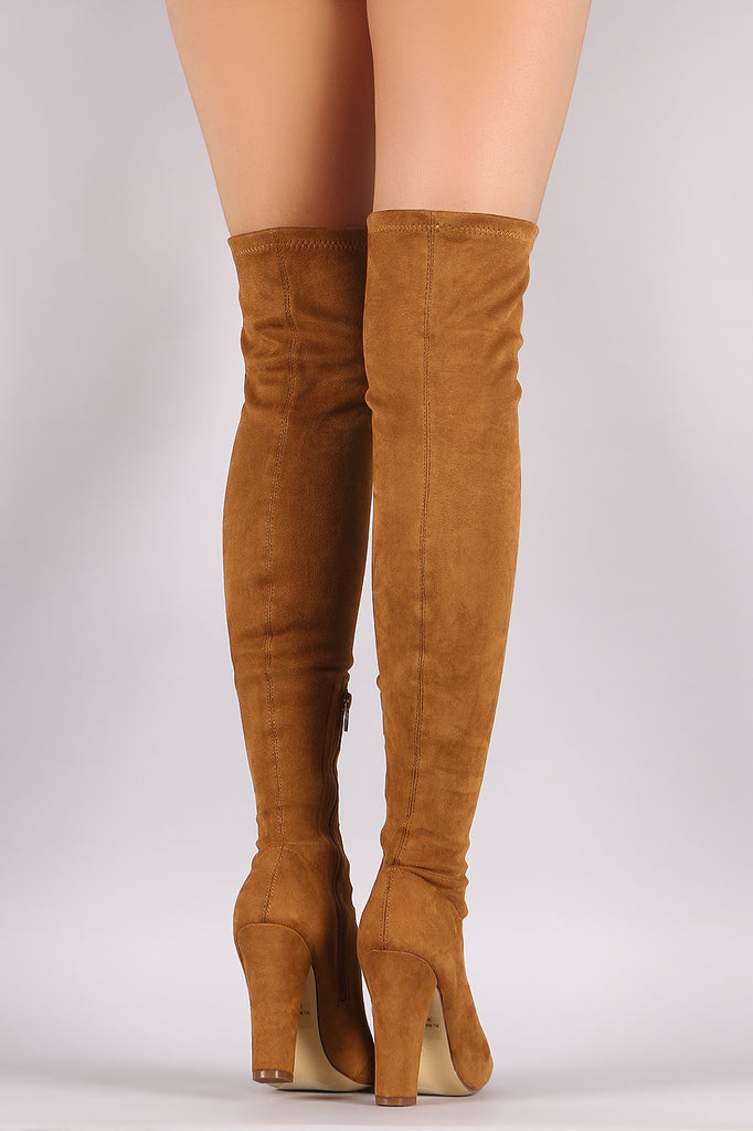 2c6463d6dd7 Suede Lace Up Almond Toe Chunky Heeled Over-The-Knee Boots – Kurve ...