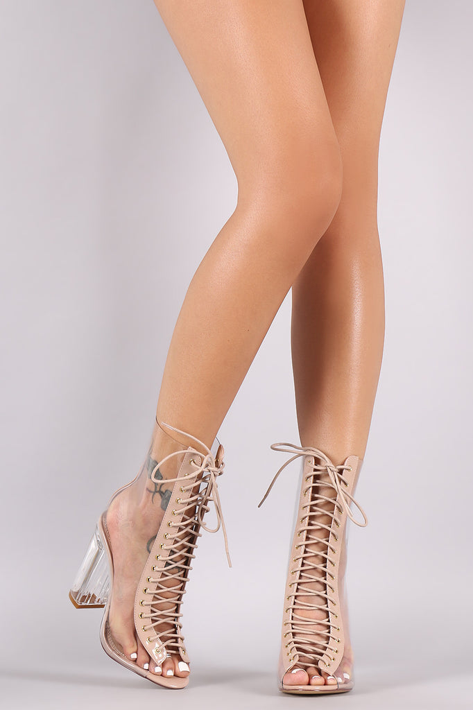 0169051d7ed Transparent Combat Lace-Up Chunky Lucite Heeled Ankle Boots