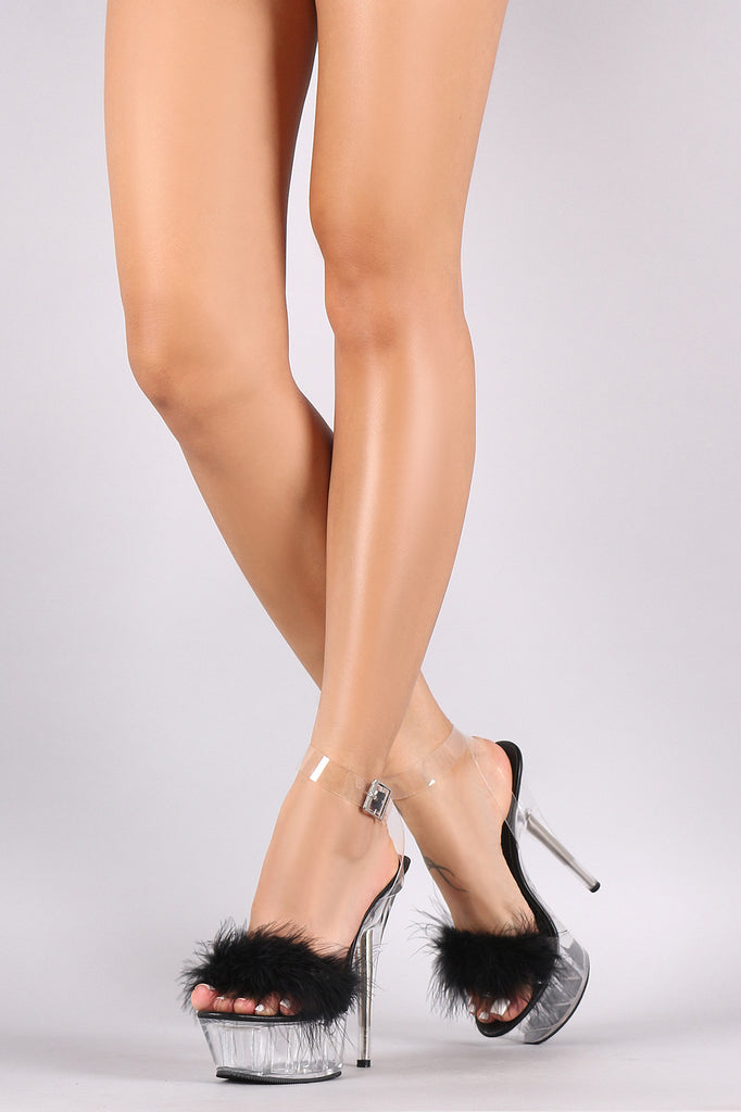 45a8323ba92 Faux Feather Lucite Ankle Strap Perspex Chunky Platform Heel – Kurve ...