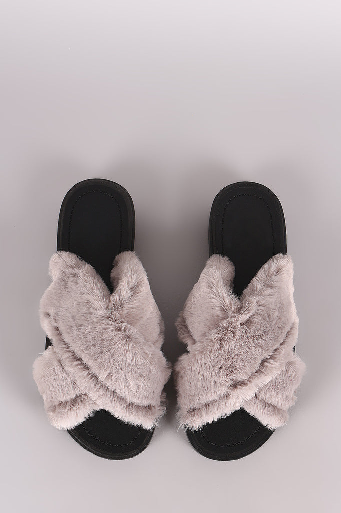 54ff92eaa83de Qupid Crisscross Faux Fur Slide Sandal – Kurve Boutique