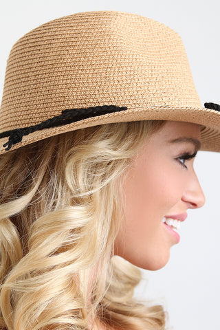 Stitched Straw Braided Trim Fedora